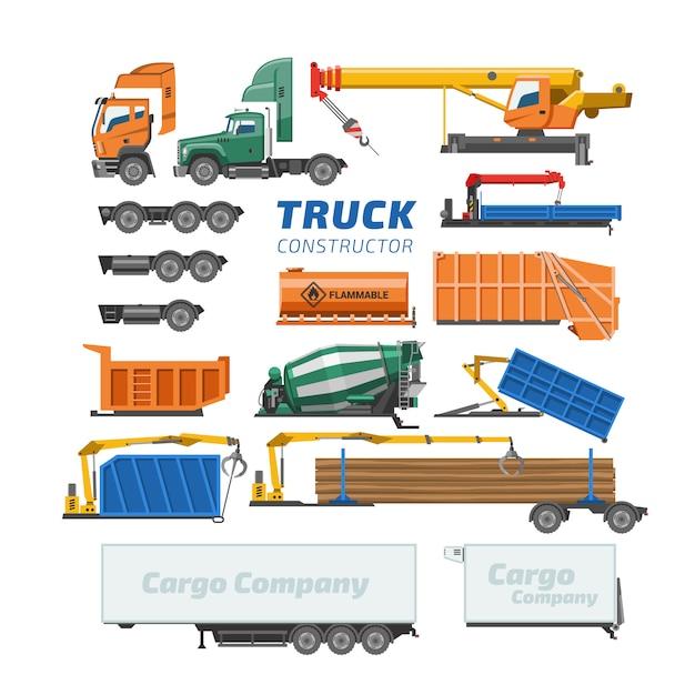 Vrachtwagen constructor vector levering voertuig of vrachtvervoer en vrachtvervoer bouw illustratie set van betonmixer vrachtwagen of logistiek transport geïsoleerd op een witte achtergrond Premium Vector