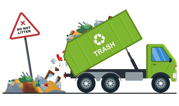 Vrachtwagen gooit afval op de verkeerde plaats. Premium Vector
