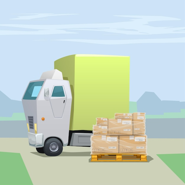 Vrachtwagen met veel kartonnen pakketten op pallet omwikkeld met rekfolie Premium Vector