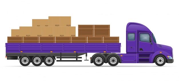 Vrachtwagen oplegger voor transport van goederen concept vectorillustratie Premium Vector