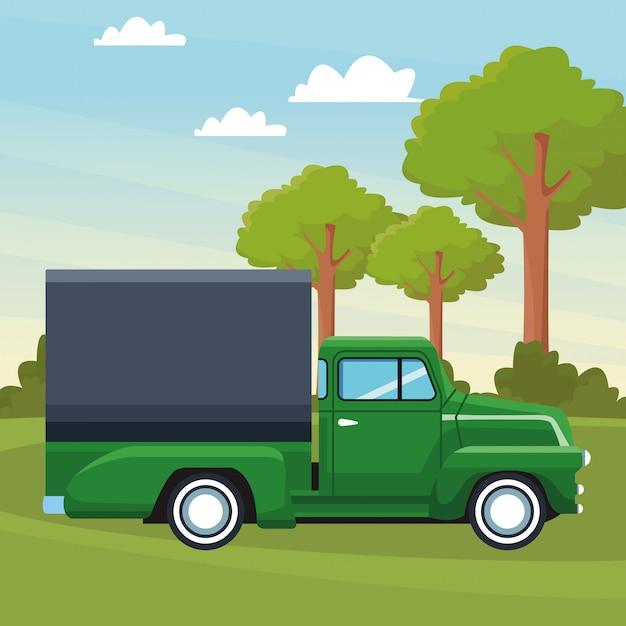 Vrachtwagen pictogram cartoon Premium Vector