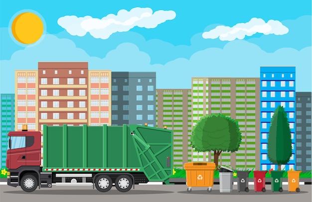 Vrachtwagen voor montage, transportafval. verwijdering van auto-afval. Premium Vector