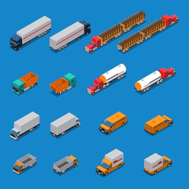 Vrachtwagens isometrische icons set Gratis Vector