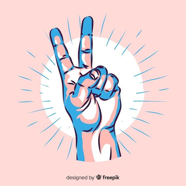 Vredesteken hand Gratis Vector