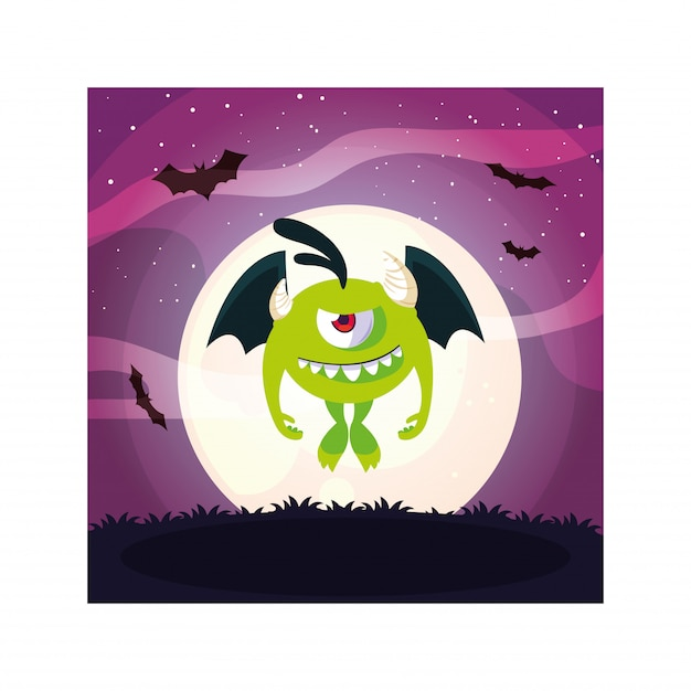 Vreemd monster in halloween-nacht, grappig monster Premium Vector