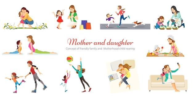 Vriendelijke familie en moederschap opvoeding spelen wandelen met kinderen retro cartoon pictogrammen banners set geïsoleerd Premium Vector
