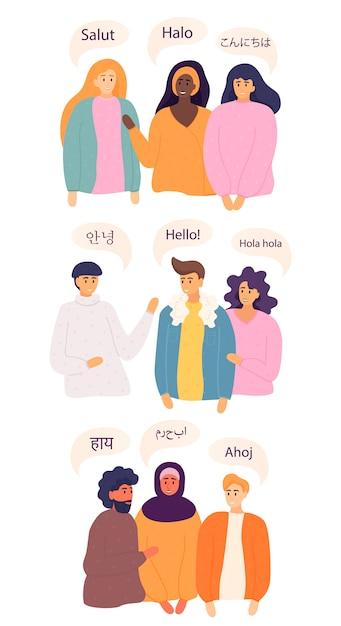 Vriendelijke mannen en vrouwen uit verschillende landen die gedag zeggen. platte vector stijl illustratie. Premium Vector