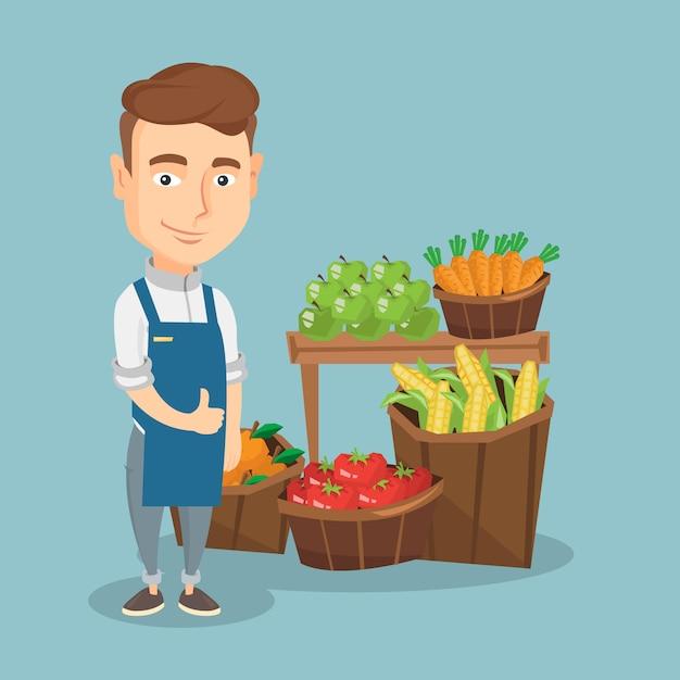 Vriendelijke supermarkt werknemer vectorillustratie. Premium Vector