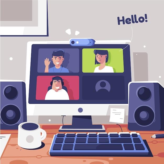 Vrienden computer videobellen Gratis Vector