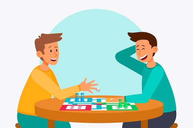 Vrienden die ludo-spel spelen Gratis Vector