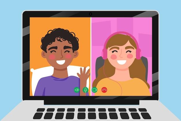 Vrienden die op laptop videocalling Gratis Vector
