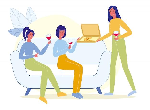Vrienden drinken wijn, eten pizza plat Premium Vector