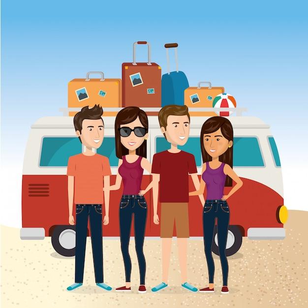 Vrienden in het strand zomervakanties Gratis Vector