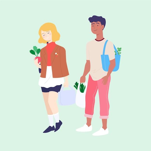 Vrienden kopen van producten van supermarkten Gratis Vector