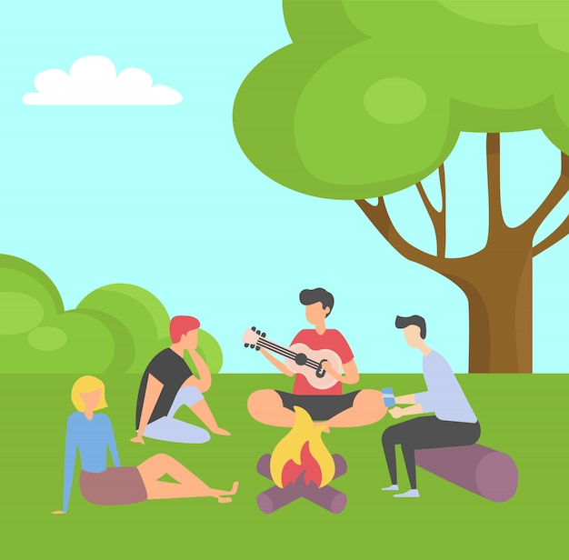 Vrienden tijd samen doorbrengen op zomervakantie Premium Vector