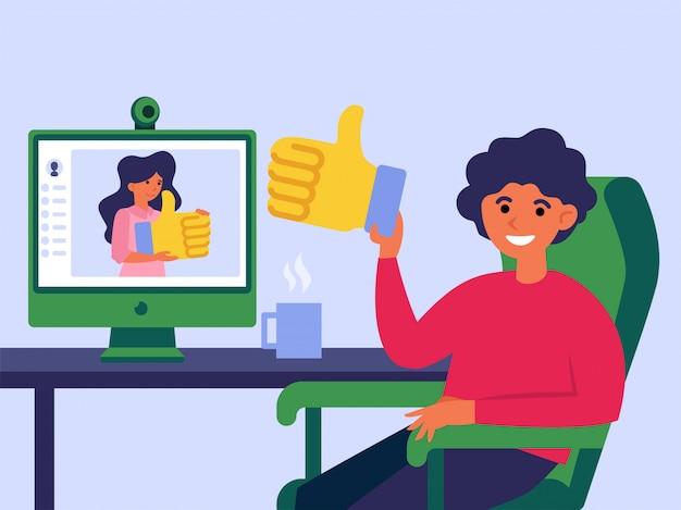 Vrienden van sociale netwerken die elkaar leuk vinden Gratis Vector