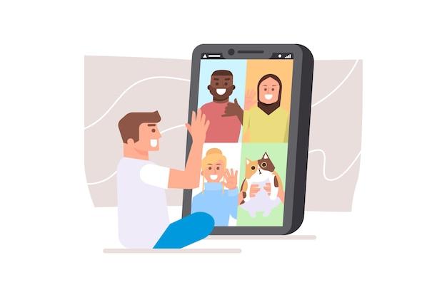 Vrienden videobellen concept Gratis Vector