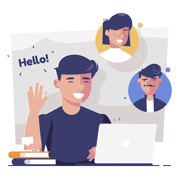 Vrienden videobellen op laptop Gratis Vector