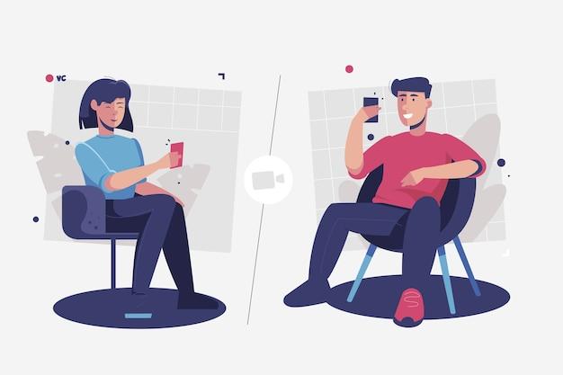 Vrienden videobellen op telefoons Gratis Vector
