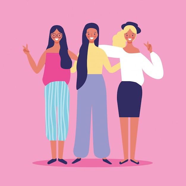 Vrienden vrouwen glimlachen Premium Vector