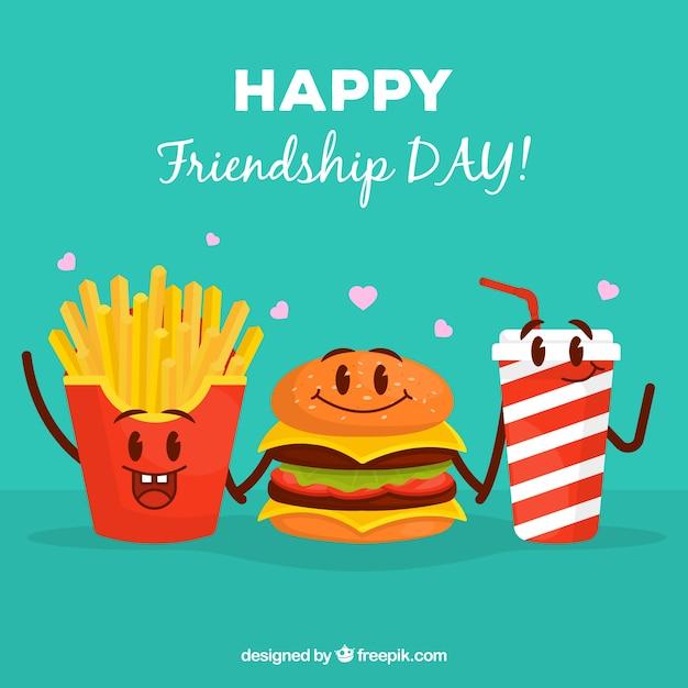 Vriendschap dag achtergrond met cartoon voedsel Gratis Vector