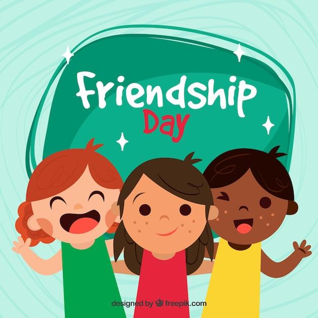 Vriendschap dag achtergrond met drie kinderen Gratis Vector