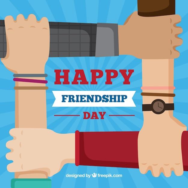 Vriendschap dag achtergrond met handen ondersteunen Gratis Vector
