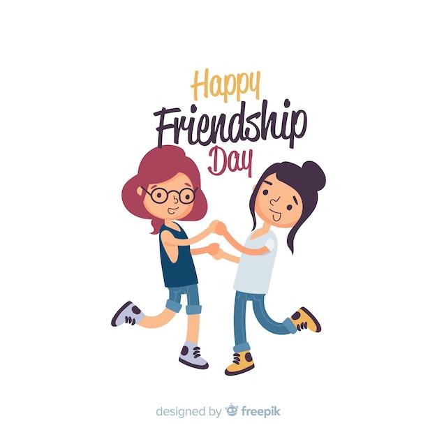 Vriendschap dag achtergrond platte ontwerp Gratis Vector