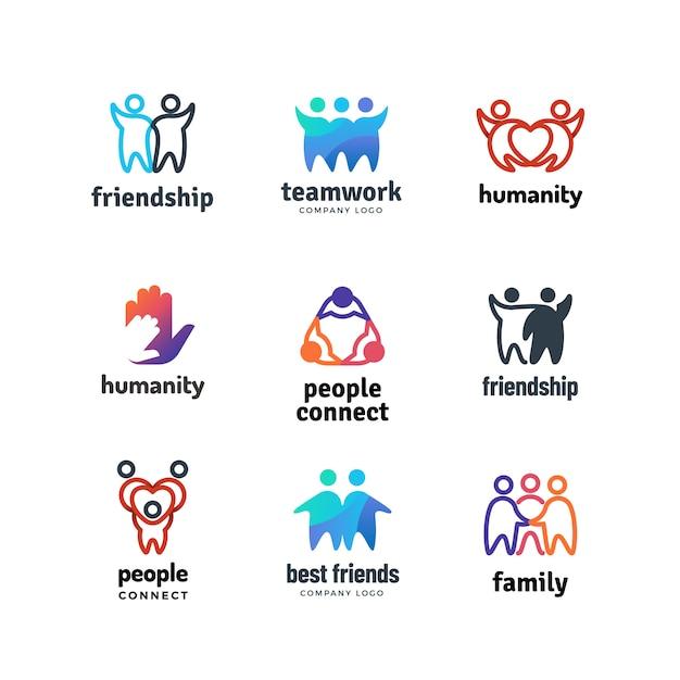 Vriendschap gemeenschap vriendelijk team mensen samen samenwerking logo set Premium Vector