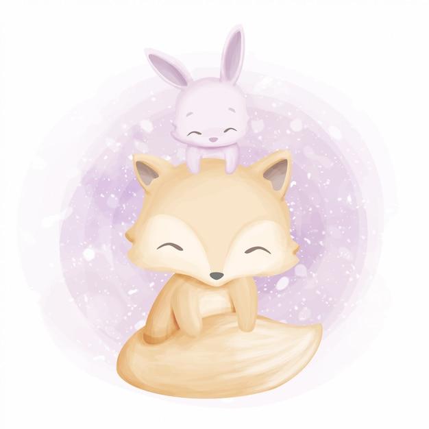 Vriendschap schattige foxy en konijn Premium Vector