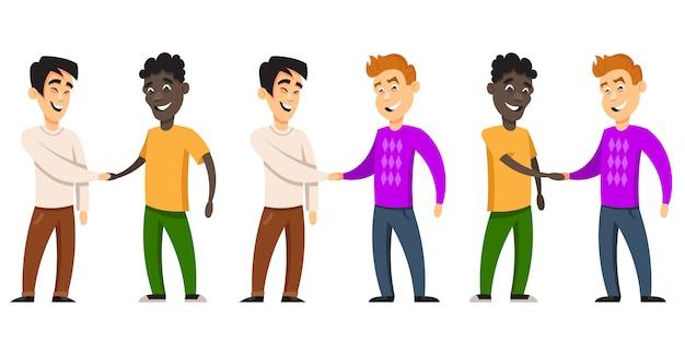 Vriendschap van volkeren. tekens van verschillende nationaliteiten in cartoon-stijl. Premium Vector