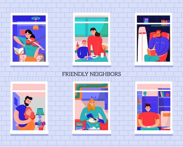 Vriendschappelijke buren tijdens diverse activiteit in vensters van huis op grijze bakstenen muur vectorillustratie Gratis Vector