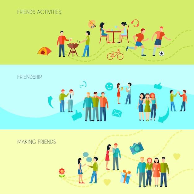 Vriendschaps horizontale banners die met communicatie activiteiten en vrije tijd worden geplaatst Gratis Vector