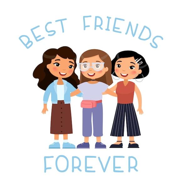 Vriendschapsdag. drie moderne jonge schattige meisjes knuffelen. grappig stripfiguur. beste vriendenconcept. Gratis Vector
