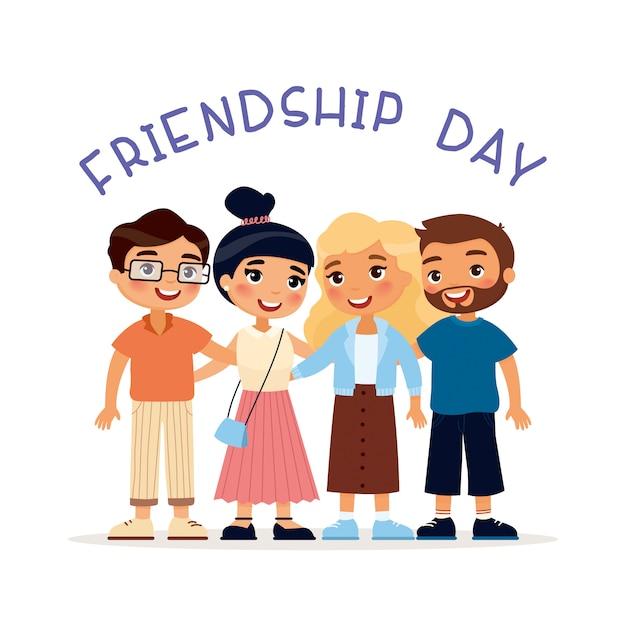 Vriendschapsdag. twee jonge schattige meisjes en twee jongens knuffelen. grappig stripfiguur. illustratie. geïsoleerd op een witte achtergrond Gratis Vector