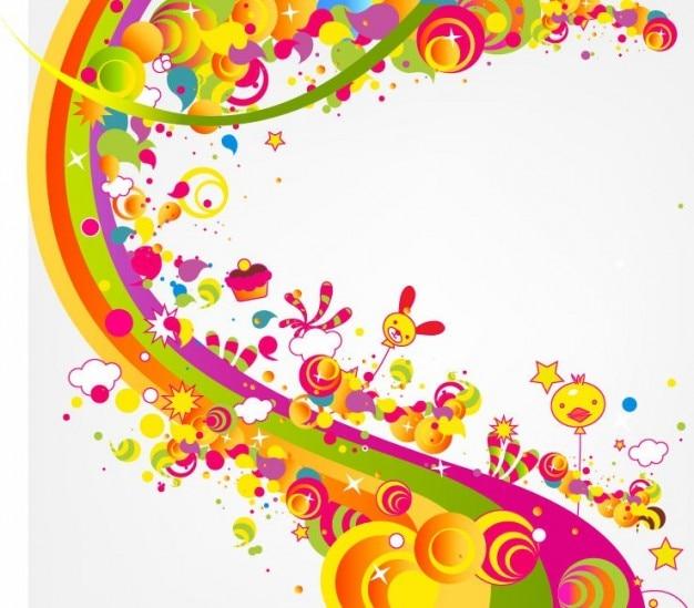 Vrij abstract blij schattige regenboog kleur vectorillustratie Gratis Vector