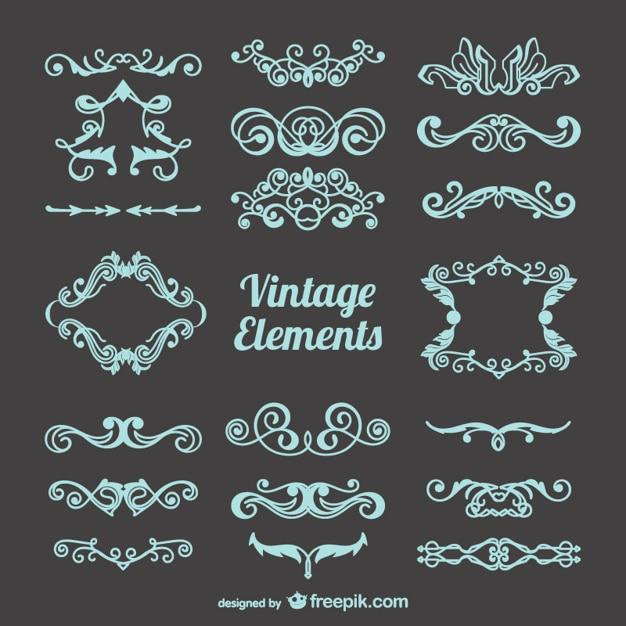 Vrij vintage versieringen instellen Gratis Vector