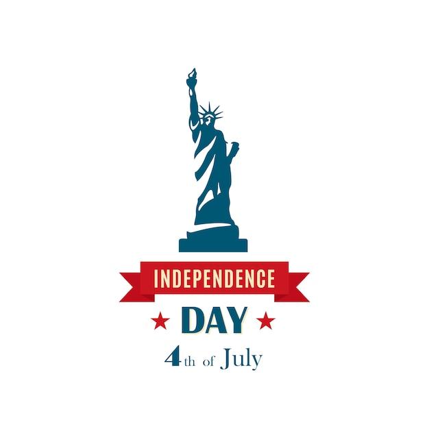 Vrijheidsbeeld. onafhankelijkheidsdag. Premium Vector