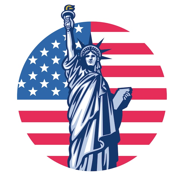 Vrijheidsstandbeeld met de vlagachtergrond van verenigde staten Premium Vector
