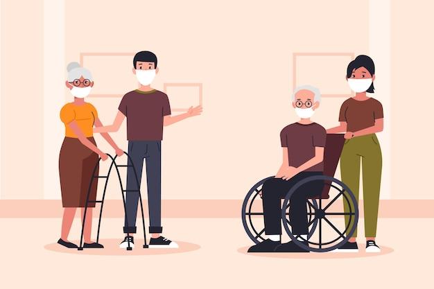 Vrijwilligers die ouderen helpen Gratis Vector