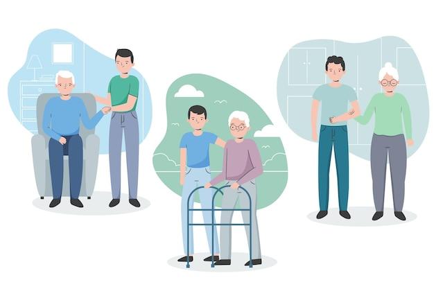 Vrijwilligers helpen oudere mensen Gratis Vector