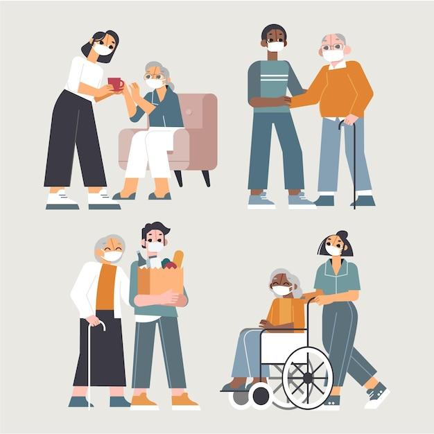 Vrijwilligers helpen ouderen Gratis Vector
