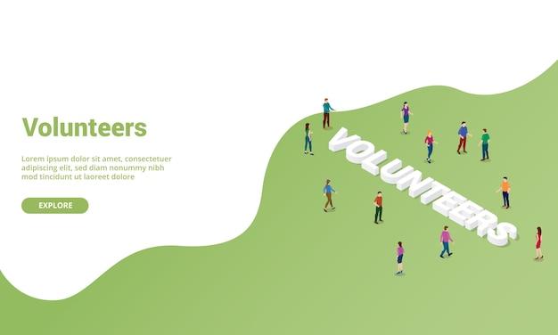 Vrijwilligers mensen isometrisch voor website sjabloon of startpagina banner Premium Vector