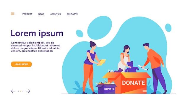 Vrijwilligers pakken de bestemmingspagina van donatieboxen in Gratis Vector