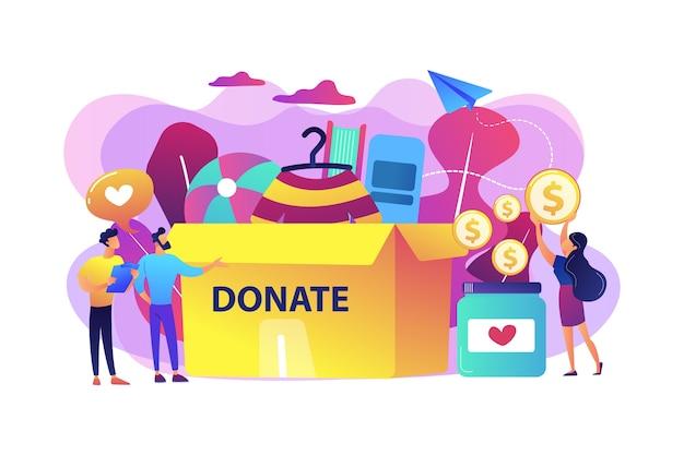 Vrijwilligers verzamelen goederen voor het goede doel in een enorme donatiebox en doneren munten in een pot. donatie, donatie aan goede doelen, cadeau in natura concept. Gratis Vector