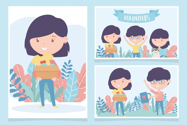 Vrijwilligerswerk, help liefdadigheidsjongeren donatiebescherming door kaarten te geven Premium Vector