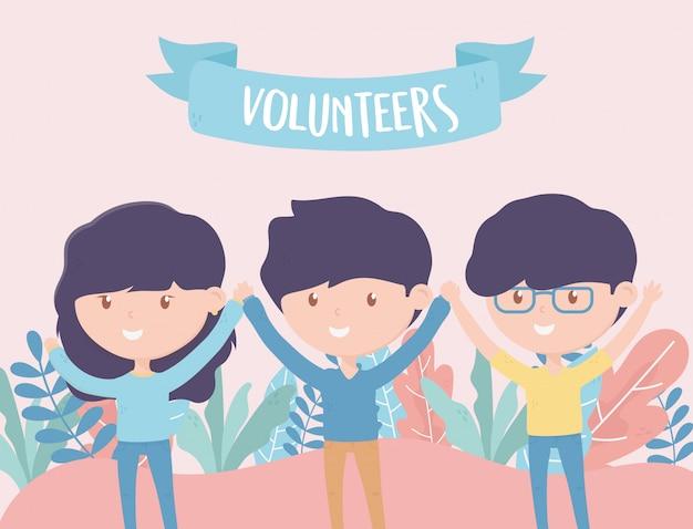 Vrijwilligerswerk, help liefdadigheidsjongeren vrijwilligers handen omhoog Premium Vector