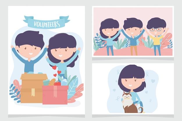 Vrijwilligerswerk, help liefdadigheidsmensen doneren community support kaarten Premium Vector