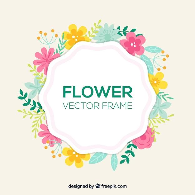 Vrolijk bloemenframe Gratis Vector