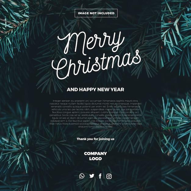 Vrolijk kerst e-mail sjabloon Gratis Vector
